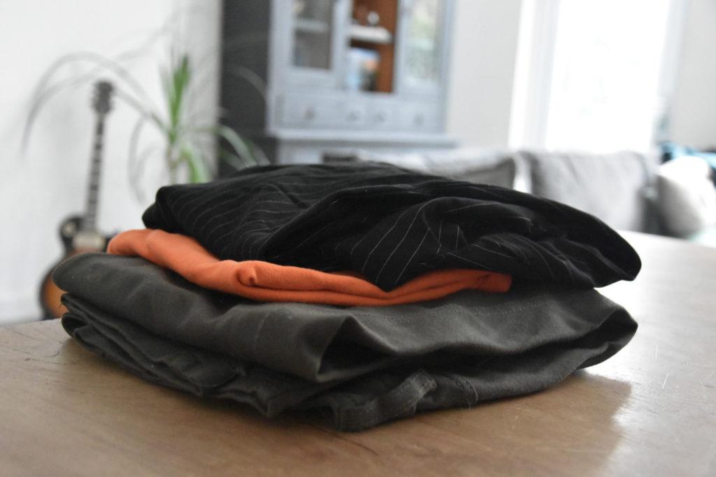 Stapel kleding materiaal voor flostouw